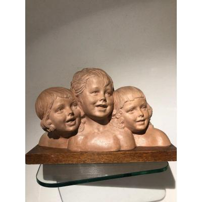 Terracotta Signed Chiparus Three Young Girl 1925
