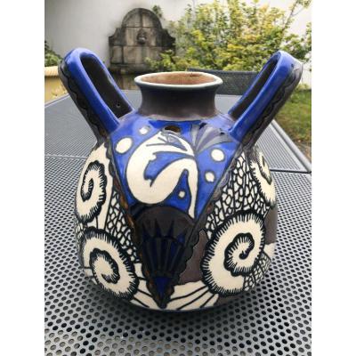 Superb Quimper Art Deco Odetta Vase