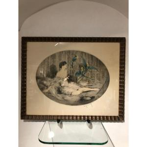 Superb Louis Icart Engraving Woman With Three Parrots