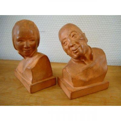 G. Hauchecorne- Couple de bustes en terre cuite