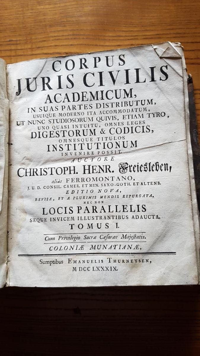 Corpus Juris Civilis De Ferromontano 1789
