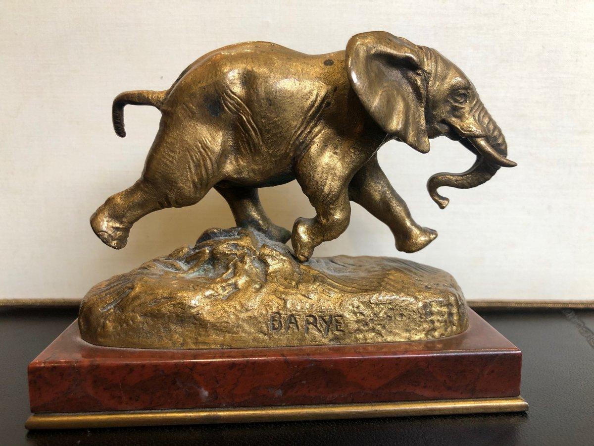 Antoine-louis Barre.elephant Du Sénégal En Bronze Doré