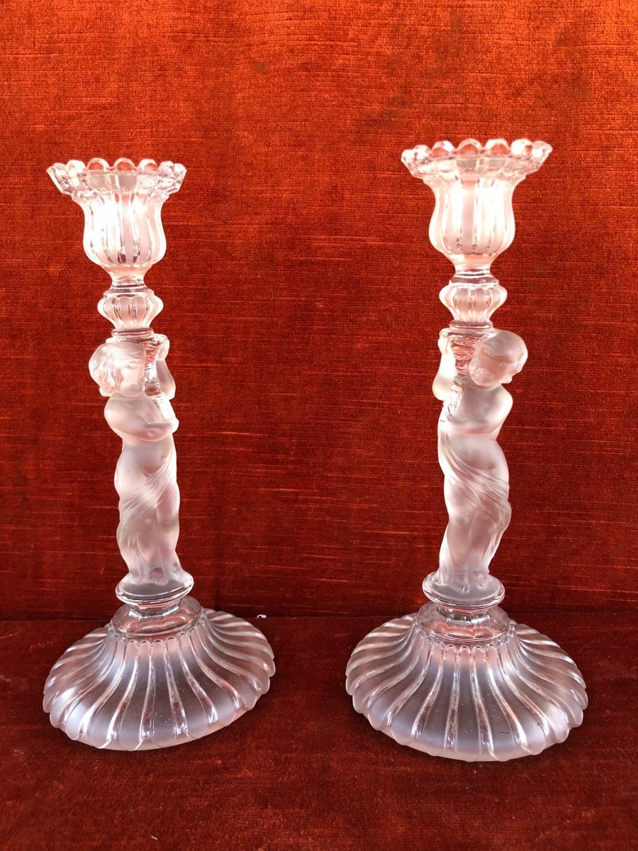 Pair Of Baccarat Crystal Candlesticks