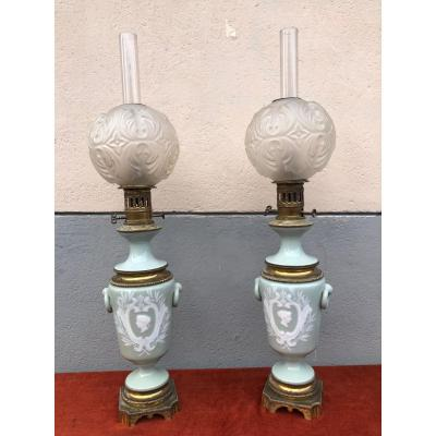 Pair Of Porcelain And Bronze Lamps XIX Century