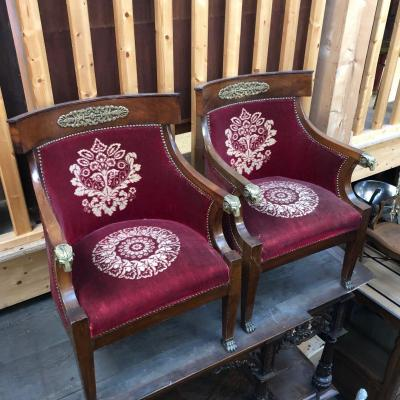 Pair Of Empire Armchairs In Mahogany And Bronze XIXth