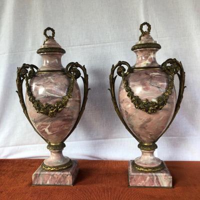 Paire De Cassolettes En Marbre Et Bronze