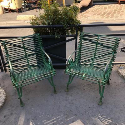 Paire De Fauteuils De Jardin En Fer Forgé . Ré - édition Des Modèles Arras