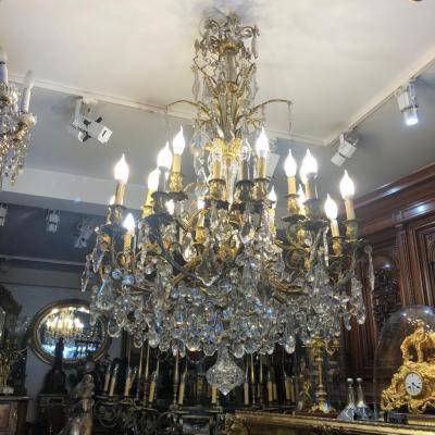 Grand Lustre En Bronze Et Cristal