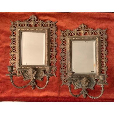 Paire d'Appliques à Miroir En Bronze