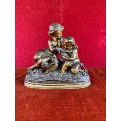 Bronze Enfants Et Coqs