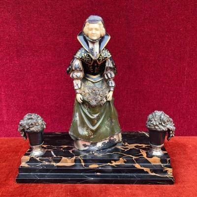 René Paul Marquet ( 1875-1939 ) Sculpture En Bronze Et Ivoire