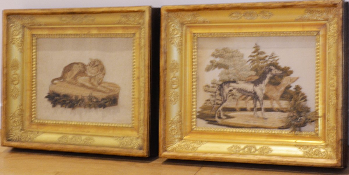 Pair Of Charles X Embroidered Silk Paintings
