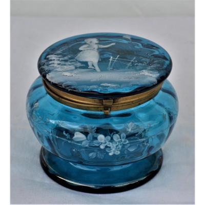 Bonbonnière en verre bleu de Marie Gregory
