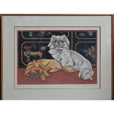 Lithographie de chiens de Jacques Nam