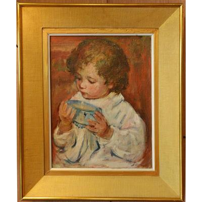 Painting Of A Child With A Bowl By Max Agostini