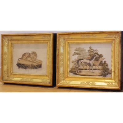 Paire de tableaux de soies brodées Charles X