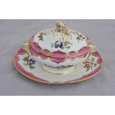 Vieux Paris Porcelain Saucer With Fruit Decoration