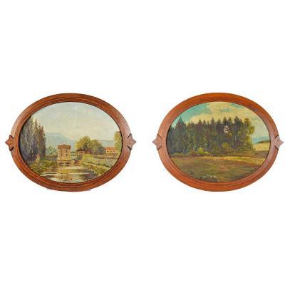 Paire de tableaux champêtres par Ch. Paquier