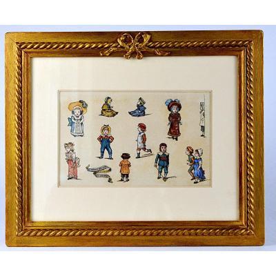 Dessin aquarellé de personnages de Kate Greenaway