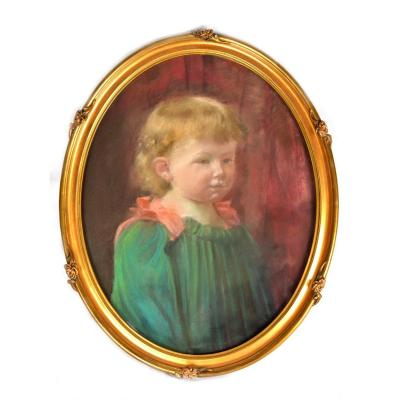 Pastel Of A Young Child In Green Dress