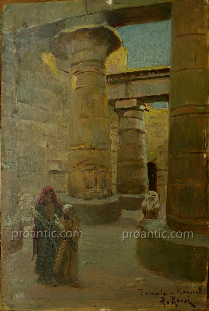"ROSSI Alberto (1858-1936) ""Le temple de Karnak"" Italien"