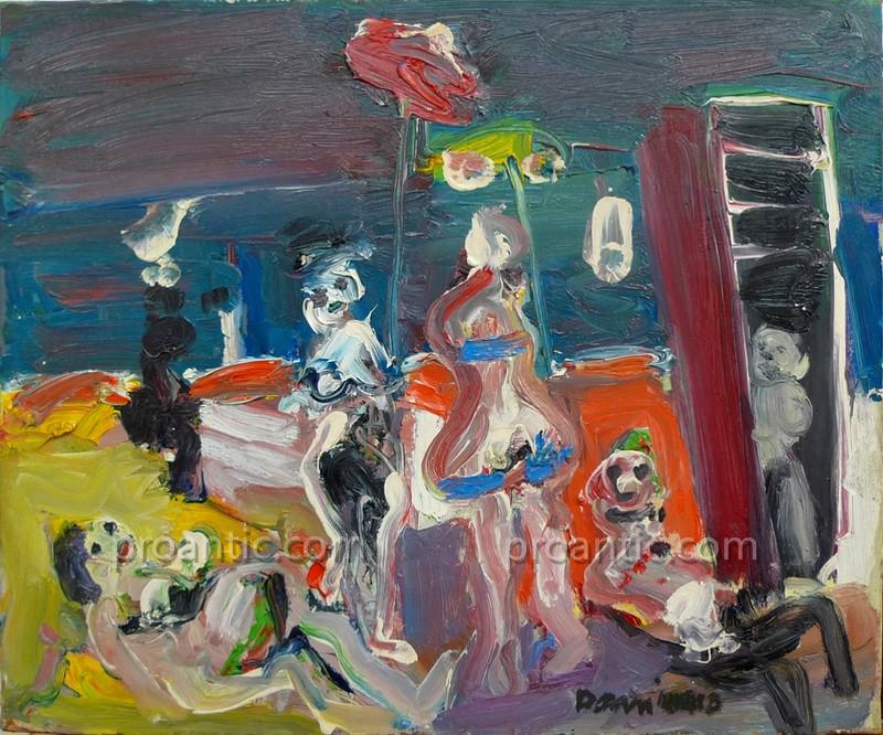 "Bernard Damiano (1926-2000) ""beach Scene"" Italian"