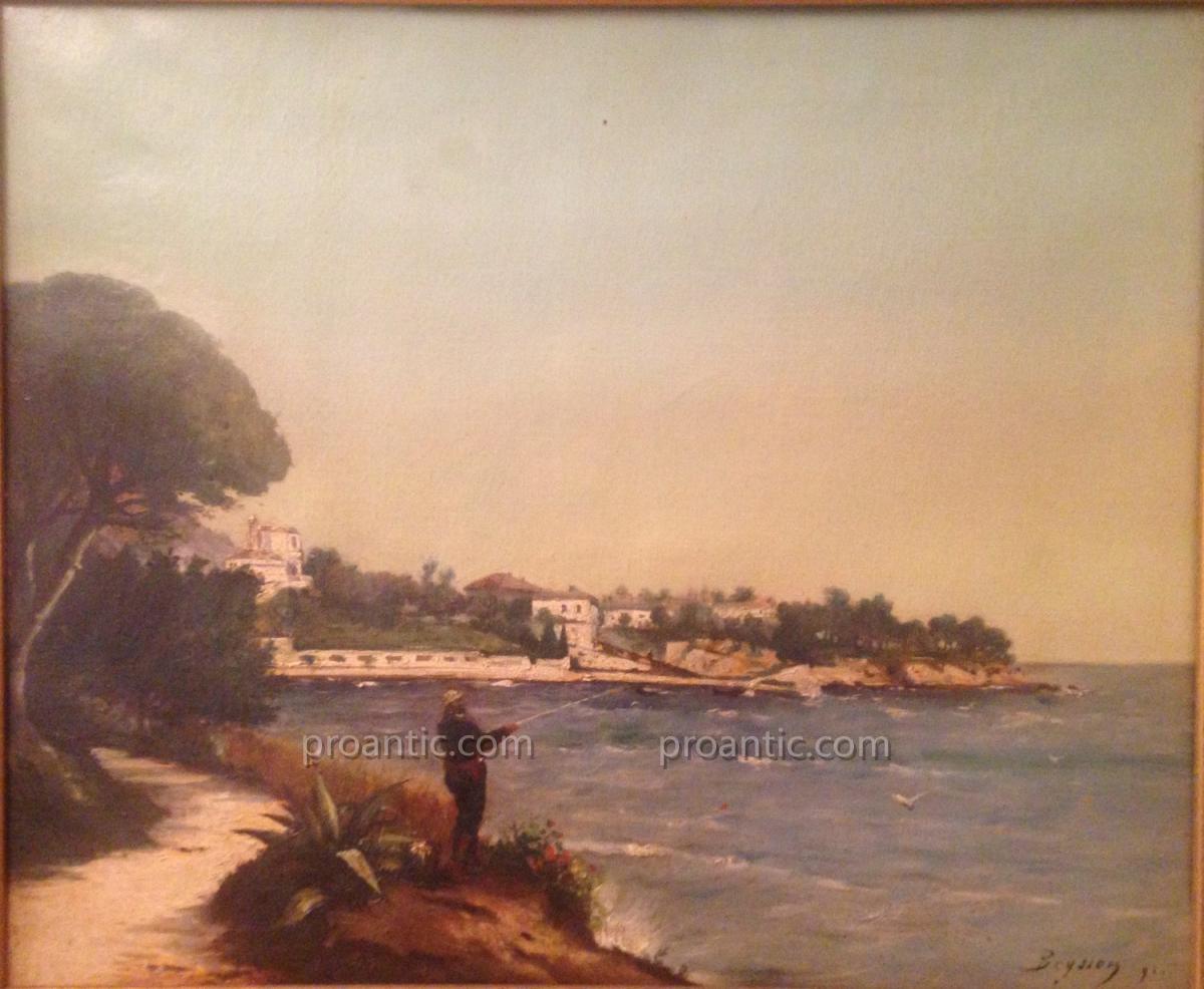"""BEYSSON Louis (1856-1912) """"Pêcheur à Beaulieu sur Mer"""""""