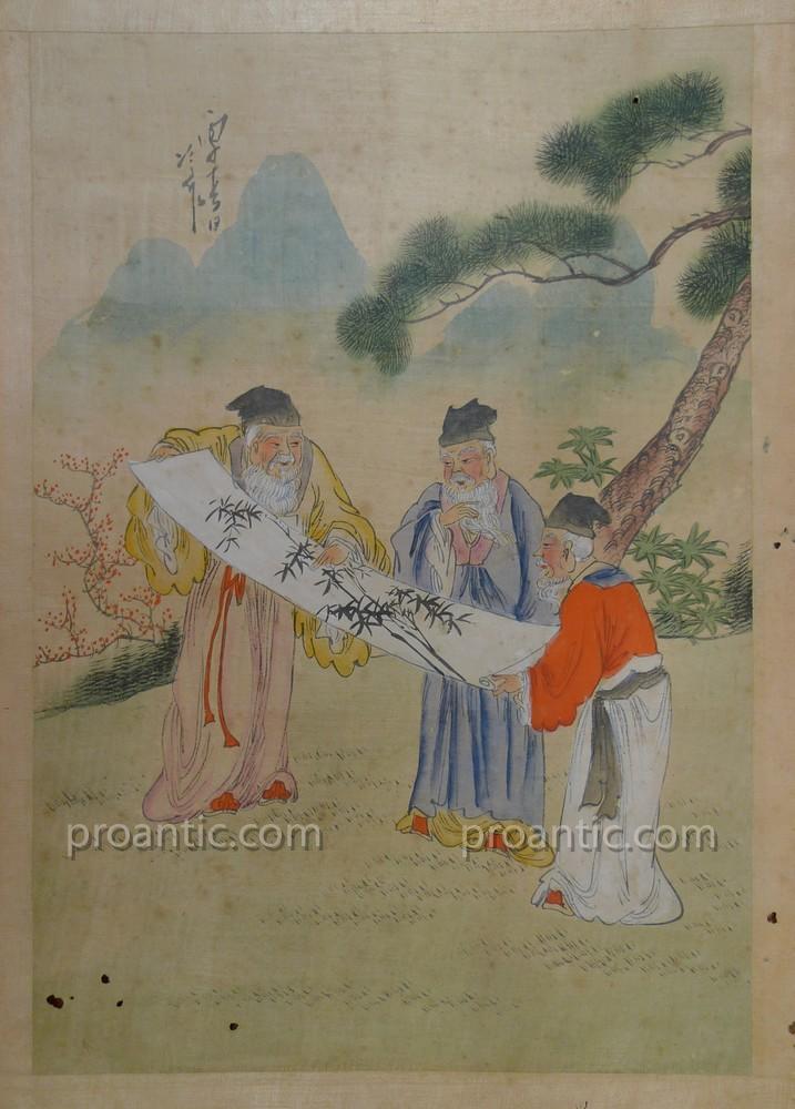 """""""Létude"""" art asiatique vers 1900"""