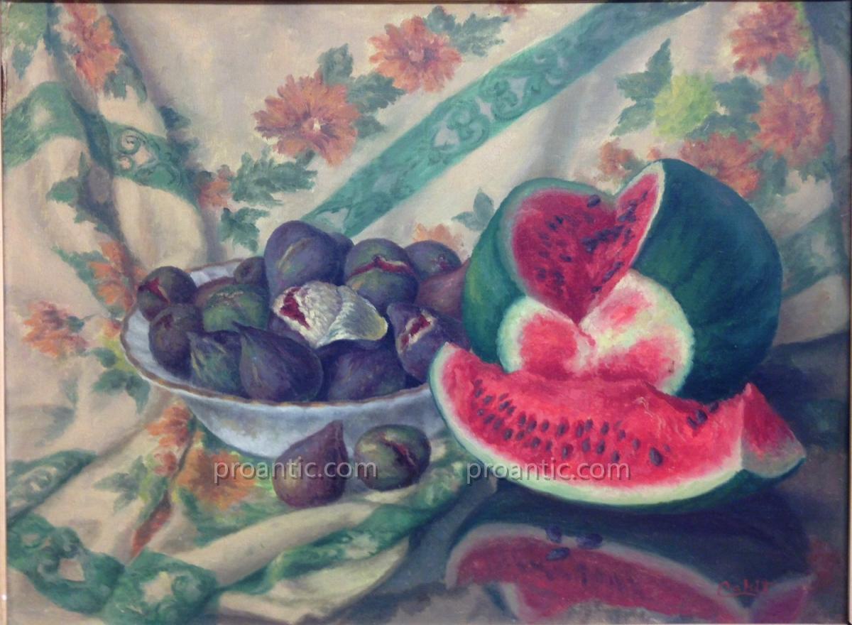 """Cahit Hüseyin DERMAN (1951) """"Nature morte à la pastèque"""" Turquie"""