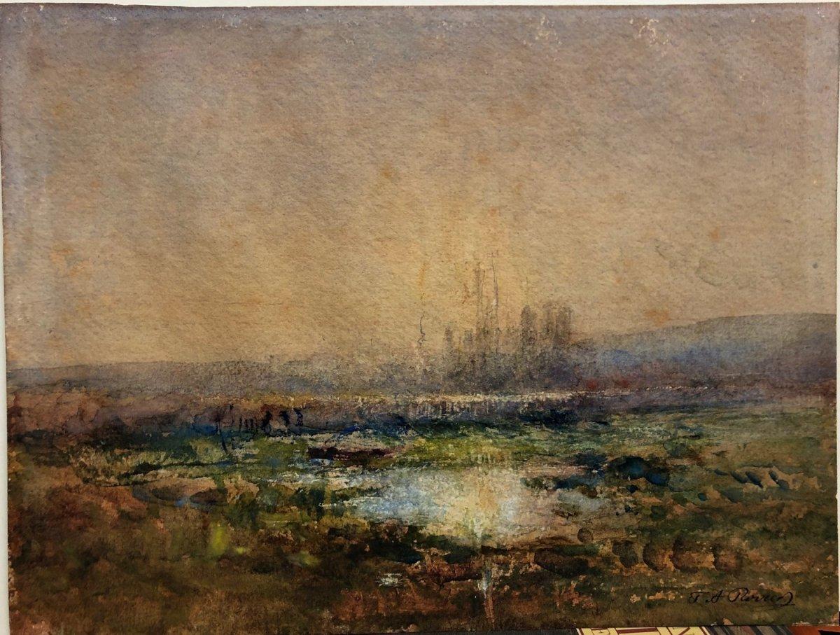 François Auguste Ravier (1814-1895) : Aquarelle à l'étang