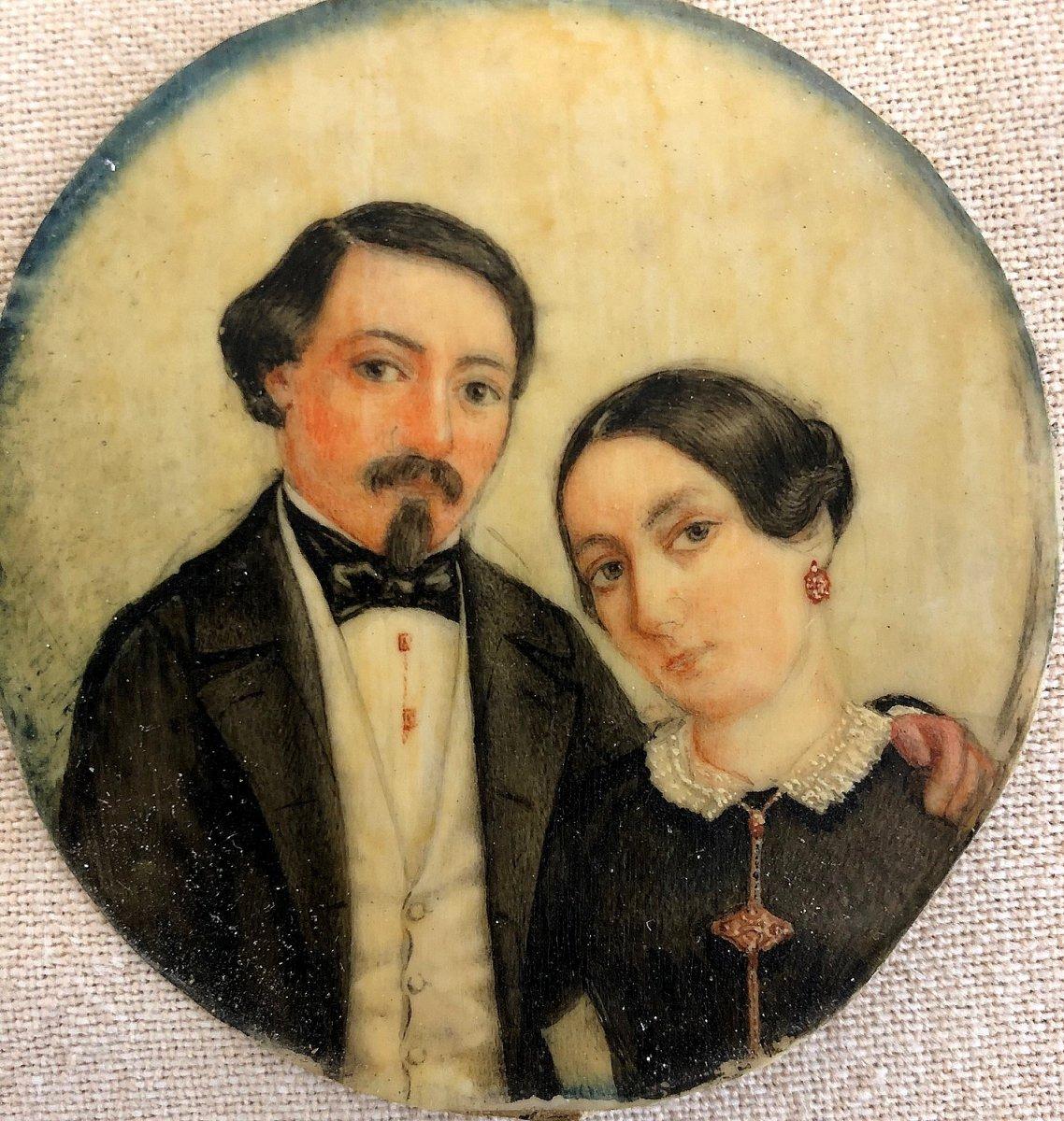 "Miniature On Ivory Representative ""a Romantic Couple"""