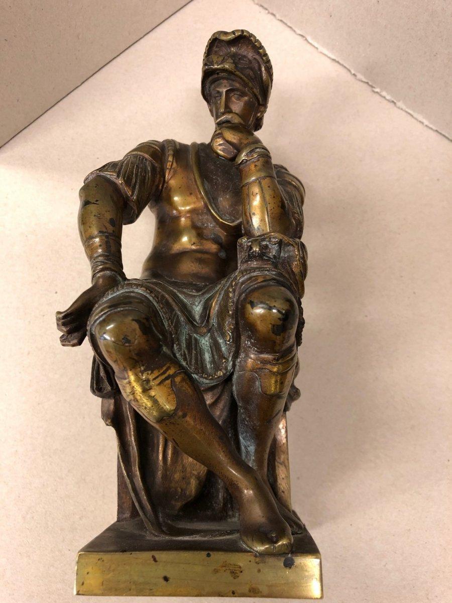 """Michel-ange (1475-1564) After; """"laurent De Medicis"""", Bronze Proof With Brown Patina"""