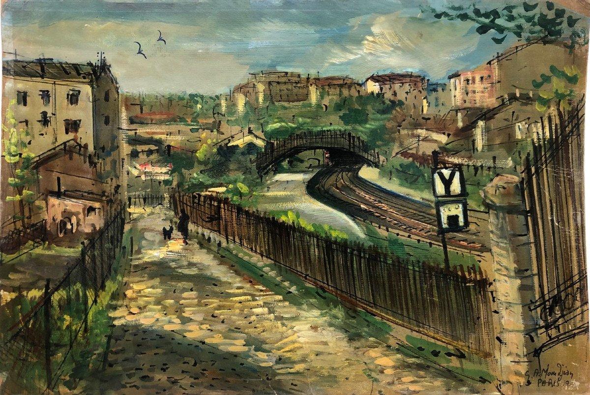 """Paris Picturesque Garabed Momdjian (1922-2006): """"menilmontant"""" 1958; Post-impressionist"""