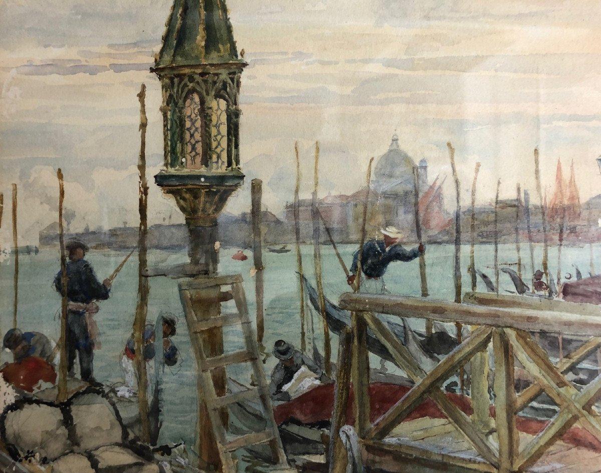 "DA POZZO GIUSEPPE (1844 - 1919)  Maranzanis de Comeglians -Rome ""Gondoliers à Venise"" Aquarelle"