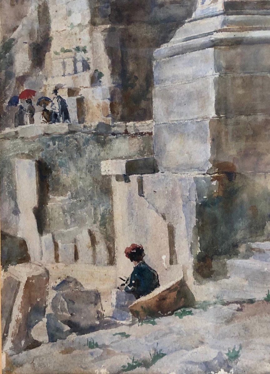 "DA POZZO GIUSEPPE (1844 - 1919)  Maranzanis de Comeglians -Rome ""Le forum Romain"" Aquarelle"