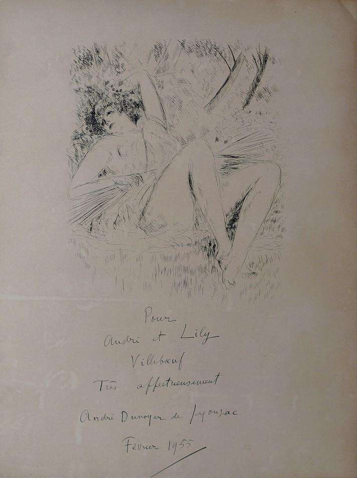 """DUNOYER DE SEGONZAC André (1884-1974) """"Femme allongée"""" Nu"""