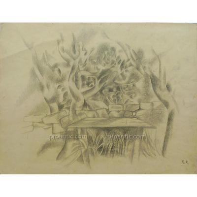"""Greta Tzara Knutson (1899-1983) """"Jardin surrealiste"""""""