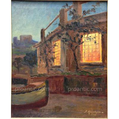 """Mangiapan Felix - Pierre (1884-?) """"Bateau à Villefranche"""""""