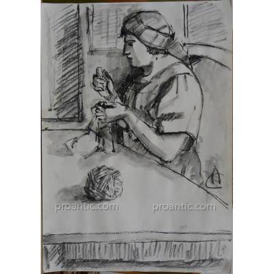 """CIUCURENCU Alexandru (1903-1977) """"La couturière"""" Roumanie"""