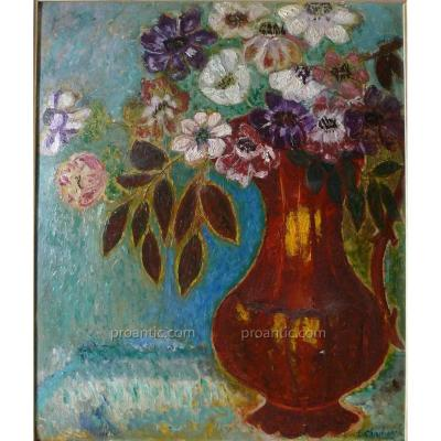 "CHADWICK NÉE LÖWSTÄDT Emma (1855-1932) ""Fleurs"" Suede"