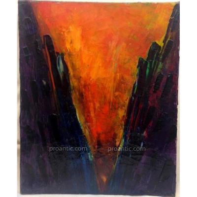 """Bram Bogaert; 1921-2012 Hollandais Actif En Belgique, """"Eruption"""", Huile Sur Toile, 1960"""