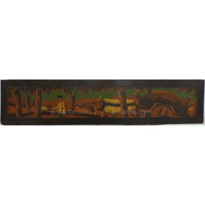 Basque Pyrography Pannel Signed Bussy