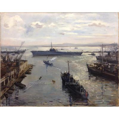 "Bersier Jean Eugene (1895-1980) ""Le porte-avion, Arromanches"""