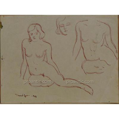 """Nicolae Tonitza (1886-1940): """"étude De Nu Féminin, 1916"""", Encre Rouge, Signé En Bas à Droite"""