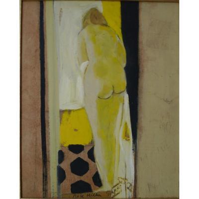 "Rose HILTON (1931-2019) ""Nu jaune"" 1971 Huile/panneau 39 x 33 cm Britannique"