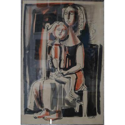 """Luis Vidal MOLNÉ (1907-1970) """"Maternité"""""""
