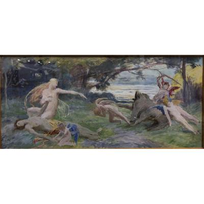 "Pierre Puvis De Chavannes (school De.) (1824-1898) ""the Death Of Adonis """