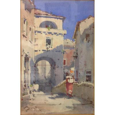 "Emmanuel Costa (1833-1921): ""animated  Street"""