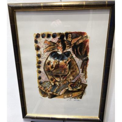 """TOBIASSE Théo (1927-2012) Lithographie : """"L'ange et le baladin"""""""