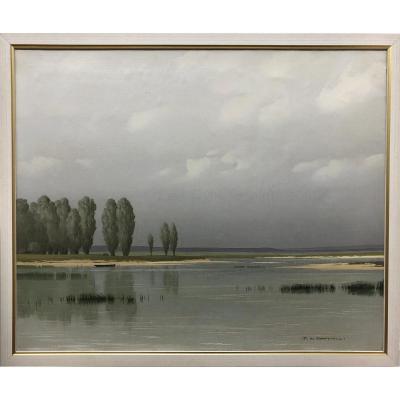 """Pierre De Clausade (1910-1976) """"landscape On The Banks Of The Loire"""""""